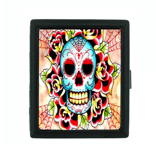 Metal Cigarette Case Holder Box Skull Design-018