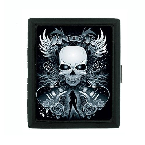Metal Cigarette Case Holder Box Skull Design-003