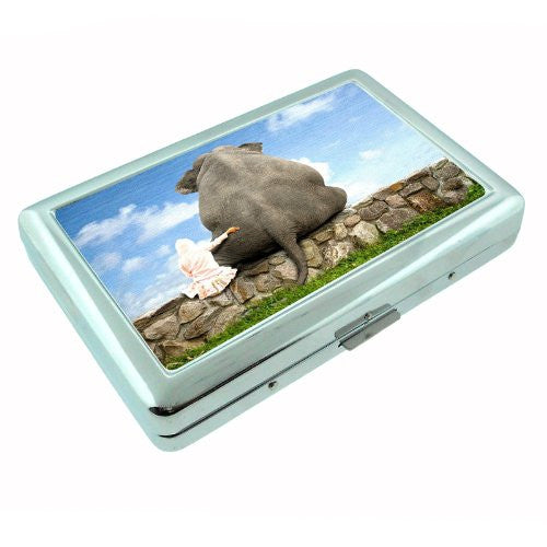 Metal Silver Cigarette Case Holder Box Elephant Design-009