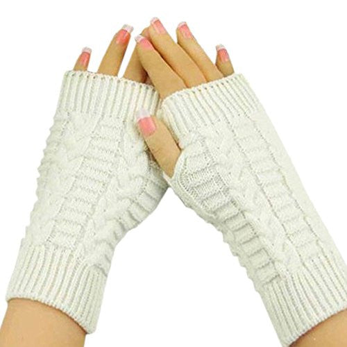 Emubody Mitten,Unisex Knitted Arm Fingerless Winter Gloves Soft Warm Mitten (White)