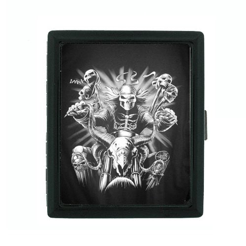 Metal Cigarette Case Holder Box Skull Design-007