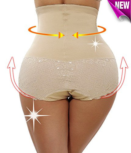 Womens Fat Burner Pants Yoga Sauna High-Waist Thigh Slimming Shapers Panties (M, Beige)