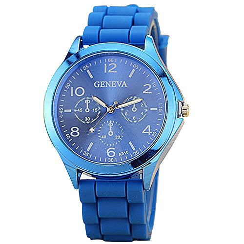 Ladies GENEVA Watch Classic Gel Crystal Silicone Jelly watch Blue