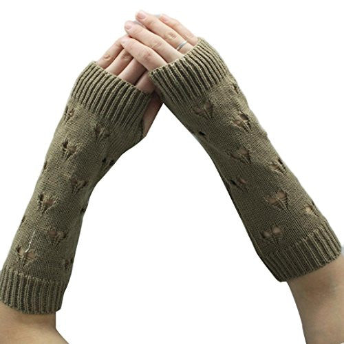 Emubody Women Knitted Arm Sleeve Fingerless Winter Gloves Soft Warm Mitten (Khaki)