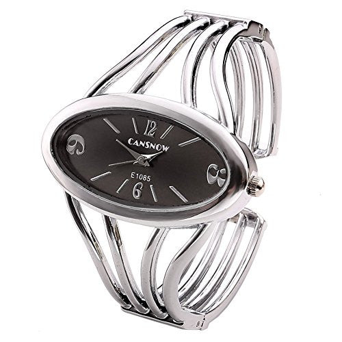 Top Plaza Womens Fashion Bangle Cuff Bracelet Quartz Watch, Oval Face Silver Tone - Black Face