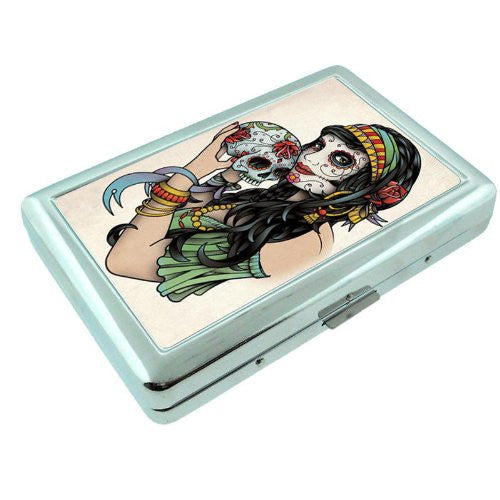 Metal Silver Cigarette Case Holder Box Skull Design-001