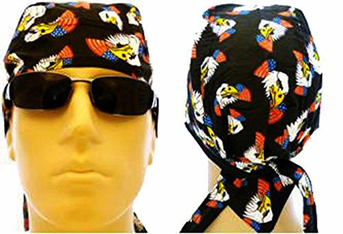 American Flag Headwrap Patriotic Doo Rag Red White and Blue (Black EAGLE)