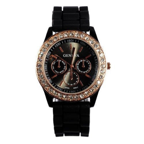 Ladies brand GENEVA Watch Classic Gel Crystal Silicone Jelly watch Black