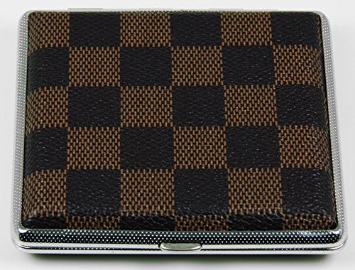 Top Rated Stylish RFID Blocking Double Sided King Cigarette Case Holder and Credit Card RFID Protective Security Wallet (Brown Plaid)