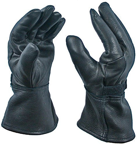 Black Gauntlet Deerskin Motorcycle Glove with Thinsulate Lining, Size Small