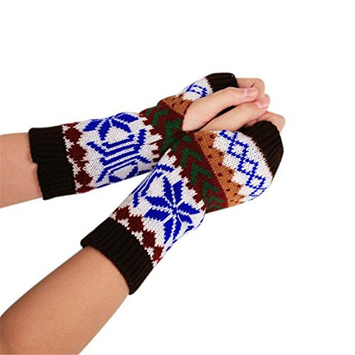 HN Fashion Knitted Arm Fingerless Winter Gloves Unisex Soft Warm Mitten (Coffee)