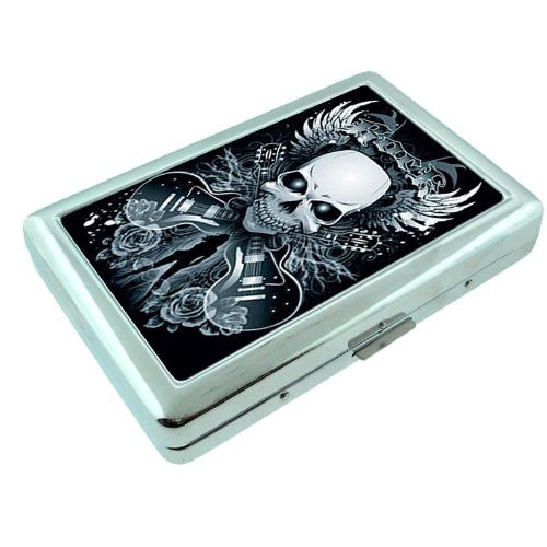 Metal Silver Cigarette Case Holder Box Skull Design-003