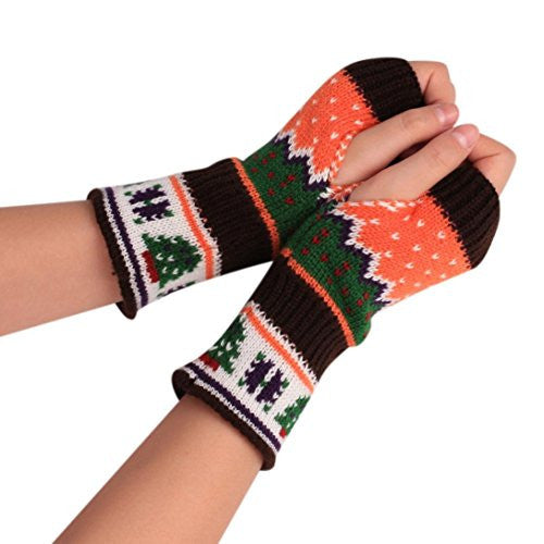 AMA(TM) Unisex Christmas Warm Knitted Arm Fingerless Gloves Mitten (Coffee)
