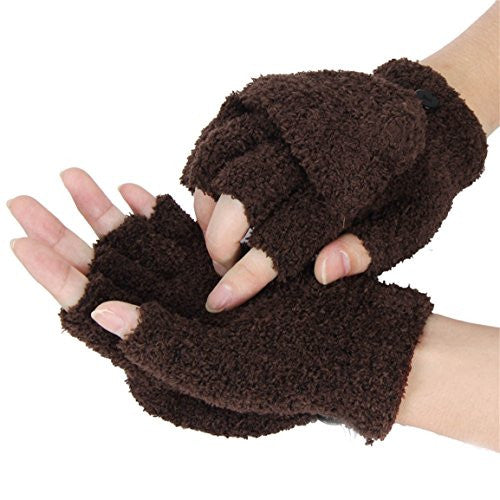 HN Girls Women Ladies Hand Wrist Warmer Winter Fingerless Gloves Mitten (Coffee)