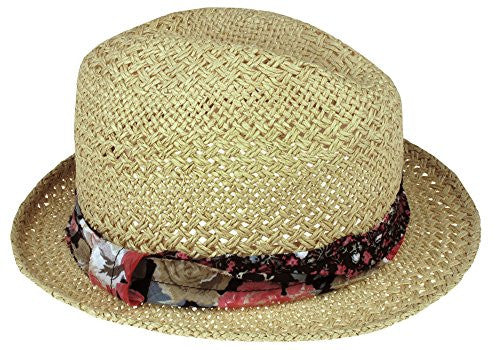 Capelli New York Thick And Thin Double Weave Twisted Paper Trilby Hat With Floral Band Natural Combo