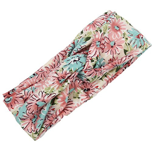 DANMY Women Girls Flower Twist Knotted Elastic Yoga Dance Sport Headband Head Wrap Turban (Pink-blue)
