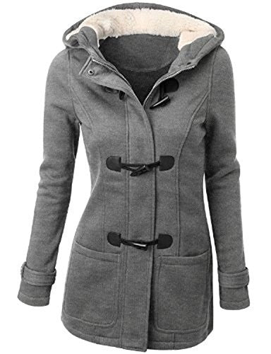 Womens Wool Outerwear Classic Plus Size Pea Coat Jacket with Hood