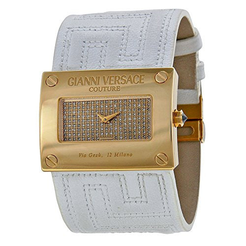 Versace V-Couture Gold Diamond Pave Dial White Leather Ladies Watch 71Q00SD91F-S001