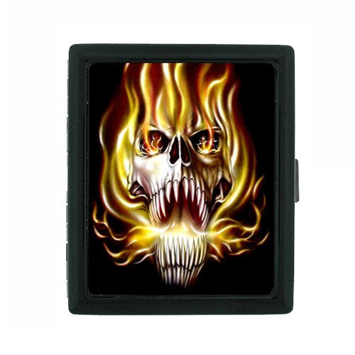 Metal Cigarette Case Holder Box Skull Design-020