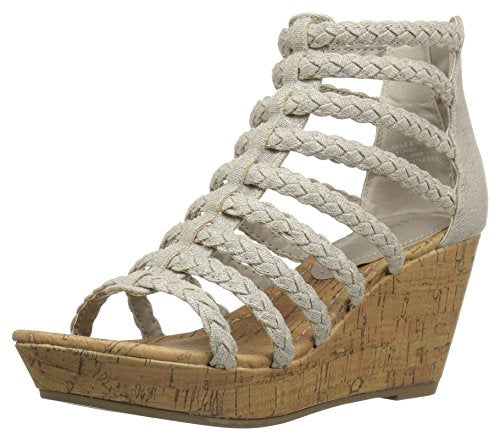 Rampage Womens' Julius Braided Platform Wedge Closed Back Open Toe Wedge,  Natural Met Linen , 7 M US