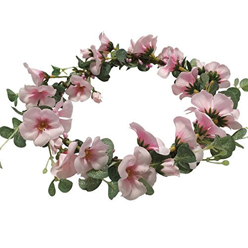 Cuteadorn Adjustable Cherry Blossom Flower Crown for Wedding Festival (Pink)