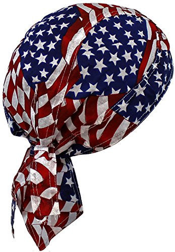 American Flag Patriotic Red White Blue Biker Skull Cap Bandana USA (One Size, Patch Flag)