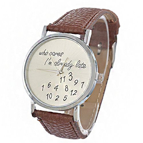 Souarts Womens Artificia Leather Number Pattern Quartz Wrist Watch Coffee