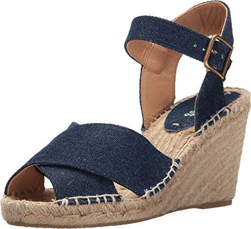 Soludos Women's Crisscross Wedge Dark Denim Cotton Denim Wedge
