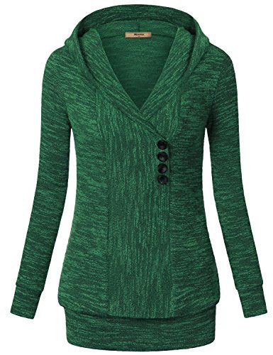 Women Sweaters,Miusey Long Sleeves V Neck Vintage Pullover Ribbed Thick Knit Sweatshirt Hoodies Casual Top Green X-Large
