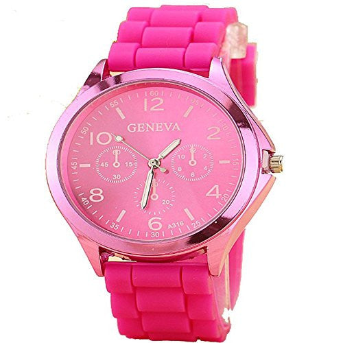 Ladies GENEVA Watch Classic Gel Crystal Silicone Jelly watch Rose red