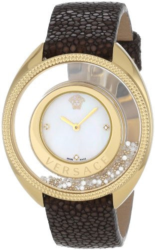 Versace Women's 86Q701MD497 S497 Destiny Spirit Gold IP Case Floating Spheres in Glass Bezel Mother-of-Pearl Dial Brown Galuchat Leather Diamond Watch