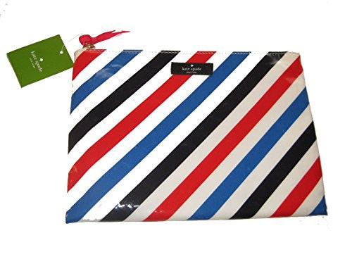 kate spade New York Daycation Large Pouch red white blue stripes