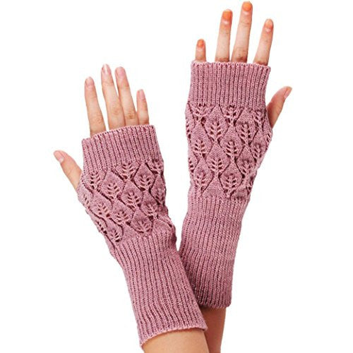 Malloom Ladies Hollow Out Knitted Fringe Warm Long Wrist Gloves