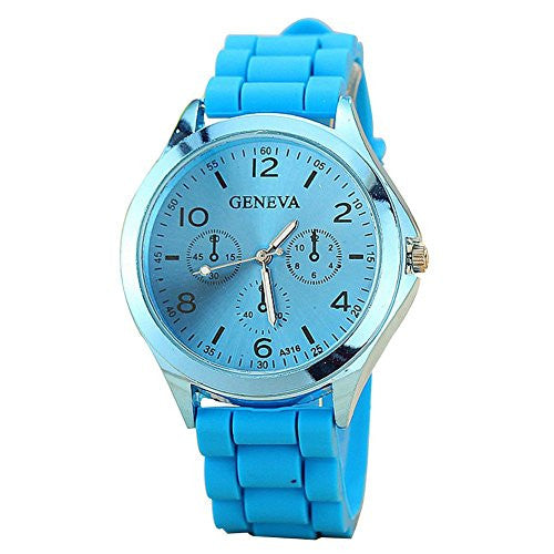 Ladies GENEVA Watch Classic Gel Crystal Silicone Jelly watch Light Blue
