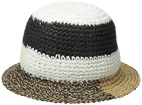BCBGMAXAZRIA Women's Patched Crochet Bucket Hat, Natural, One Size