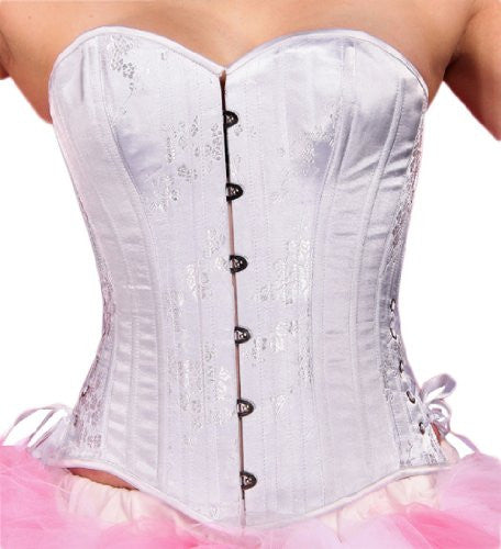 Black Iris Plus Size Floral Steel Boned Overbust Tightlacing Corset 38M White And Storage Bag