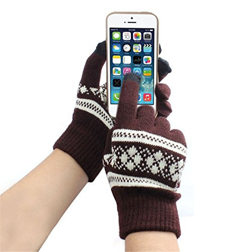 HN New Jacquard Unisex Screen Soft Gloves Mitten Warm Winter Knit (Coffee)