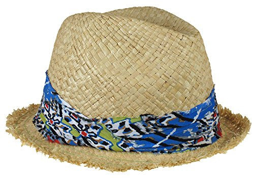 Capelli New York Flat Weave Raffia Trilby Hat With Frayed Edge And Tribal Fabric Band Green Combo