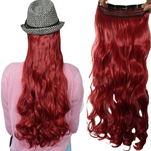 FUT 150g One Piece Synthetic Hair Extension Clip in 5 Clips Hairpiece Dark Red