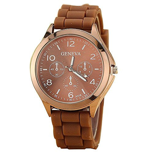 Ladies GENEVA Watch Classic Gel Crystal Silicone Jelly watch Brown