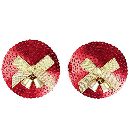 Ayliss Women's Sexy Sequin Nipple Cover Jingle Bell Pasties Lingerie