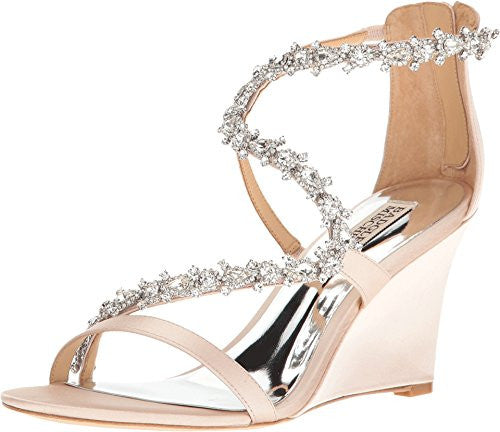 Badgley Mischka Women's Bennet Light Pink Satin Wedge