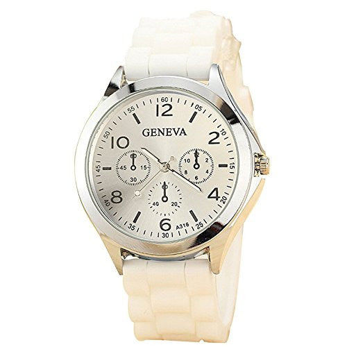 Ladies GENEVA Watch Classic Gel Crystal Silicone Jelly watch White