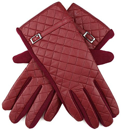 Women's Winter Driving GloveS 3 Fingers Texting & Touchscreen with Fleece Fur Lining (QUILTED/WINE)