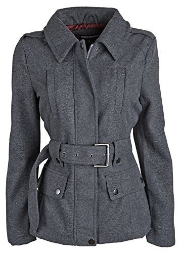 Urban Republic Junior Womens Wool Look Belted Classic Dressy Pea Coat Jacket - Charcoal (1X)