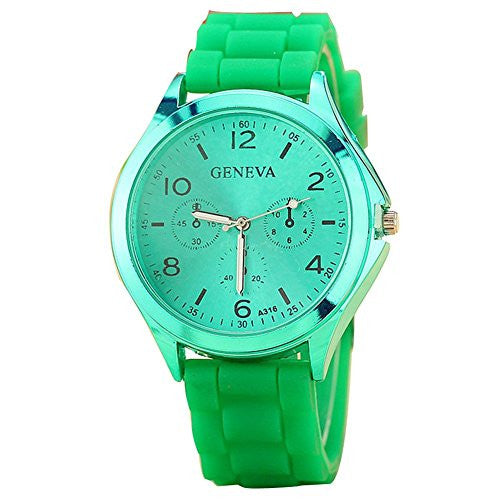 Ladies GENEVA Watch Classic Gel Crystal Silicone Jelly watch Green