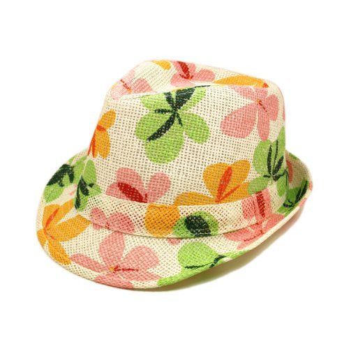 Young Adult Teen's (6-12) Flower Print Fedora Straw Hat with Matching Band
