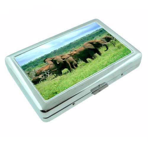 Metal Silver Cigarette Case Holder Box Elephant Design-004