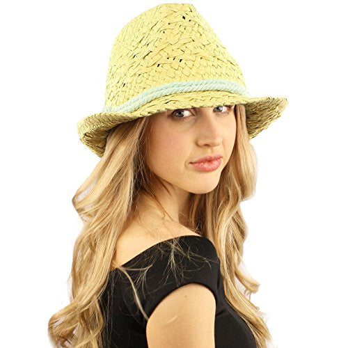 Unisex Straw Look Rope Tie Summer Fedora Trilby Crusher Hat Natural Lt Blue 57cm