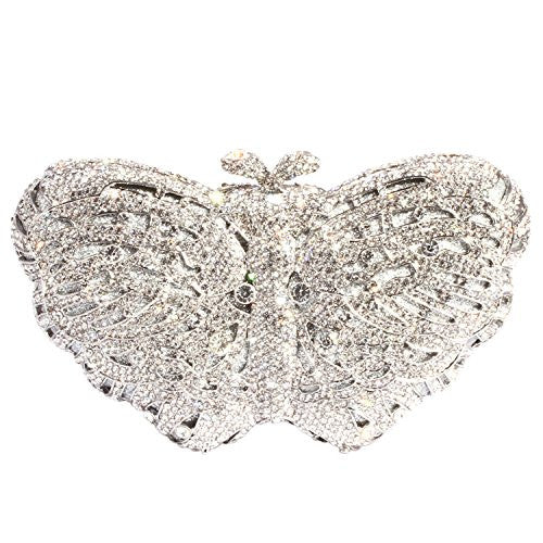 Digabi Butterfly Shape Women Crystal Evening Clutch Bags (One Size : 6.53.52 IN, white crystal - silver plated)